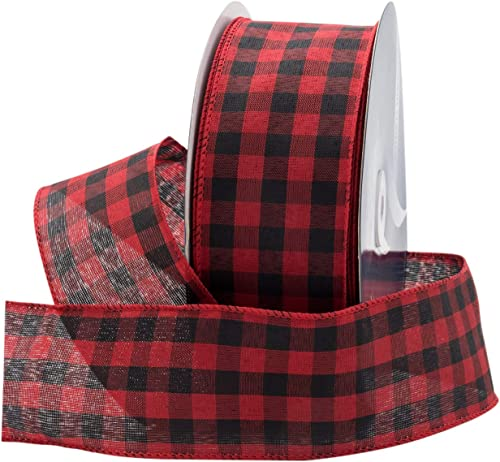 """high quality Royal Imports Buffalo Checkered Plaid Christmas Ribbon Wired, Black/Red, 2.5"""" (#40) Gingham online sale Design for Bow Making, Gift Wrapping, Wreaths, Holiday, 50 Yd high quality Roll (150 FT Spool) outlet sale"""