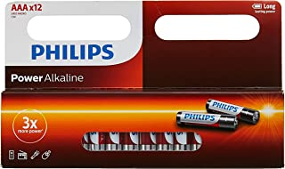 PHILIPS 12xAAA Power Alkaline Battery, Red, Window Pack