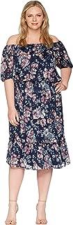Adrianna Papell Womens Plus Size Off Shoulder Blouson Burnout
