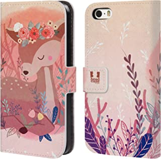 Head Case Designs Deer Woodland Animals Leather Book Wallet Case Cover Compatible for iPhone 5 iPhone 5s iPhone SE