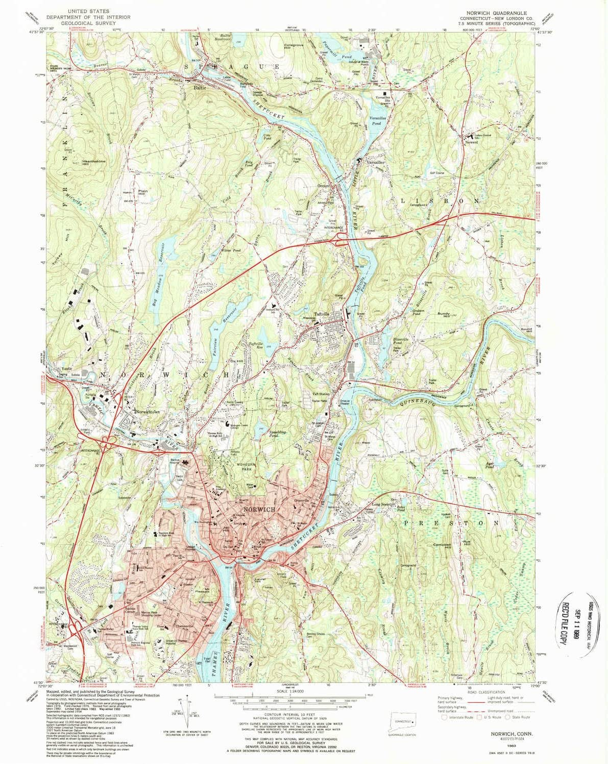 YellowMaps Norwich In stock CT Overseas parallel import regular item topo map X 1:24000 Scale 7.5 Minute