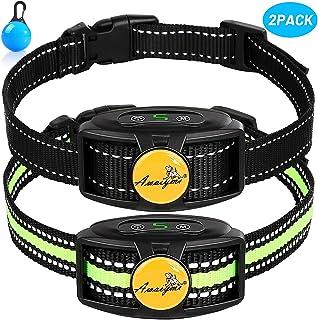 Awaiymi Bark Collar 2 Pack 2020 Upgraded Rechargeable No Shock Dog Barking Collar with Humane Dual Vibration Motor Anti Bark Reflective Collar for Small Medium Large Dogs