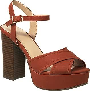 MVE Shoes Womens Stylish Comfortable Platformed Open Toe Thick Block Heel