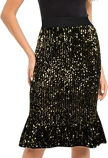 PrettyGuide Women's Sequin Skirt High Waist Velvet Shimmer Mermaid Ruffle Party Pencil Skirt