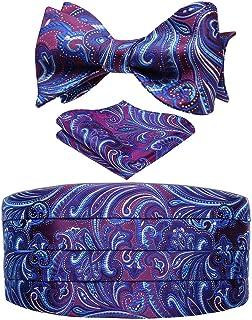 HISDERN Men's Paisley Floral Silk Bow Tie & Cummerbund & Pocket Square Set