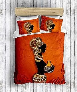 DecoMood 3D Printed 100% Cotton Bedding Set, Traditional African Women Themed, Full/Queen Size Quilt/Duvet Cover Set, Orange (3 Pcs)