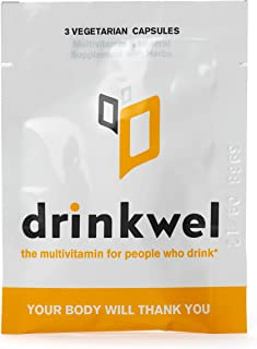 Drinkwel Hangover Supplement to-Go Packets - 4 Servings x 3 Capsules - Morning Recovery Liver Cleanse, Detox, and Immune Support Multivitamin Supplement - Milk Thistle, N-Acetyl Cysteine (NAC)
