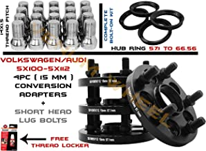 4 Pc | 15 MM | Black Bolt On Hub Centric Conversion Adapters 5x100 to 5x112 | 57.1 MM Hub Boore To 57.1 Or 66.5 Wheel Bore Works With Volkswagen Adapting 5x112 Audi or Mercedes Benz Wheels