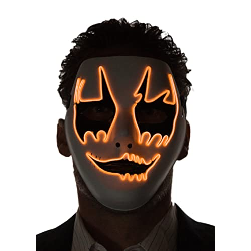 Neon Nightlife Menu0027s Light Up Clown Mask, One Size
