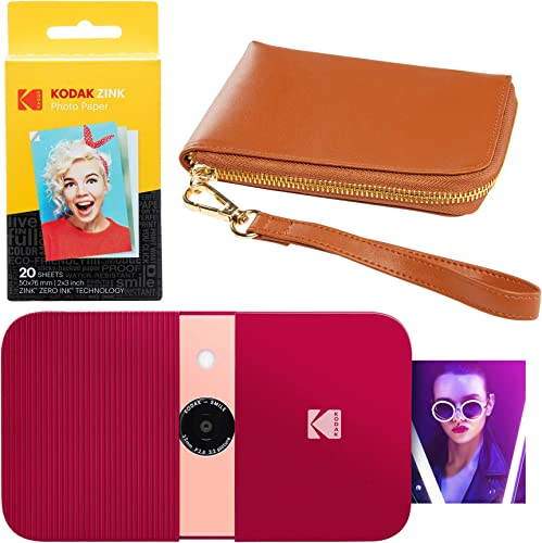popular KODAK Smile Instant Print discount Digital discount Camera (Red) Brown Wrislet Carrying Case Kit outlet online sale