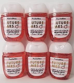 Bath and Body Works 6 Pack Future Mrs. (Pretty as a Peach) Pocketbac Hand Sanitizer 1 Oz. Travel Size Body Cream 1 Oz.