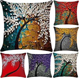 Polyester Throw Pillow Case Cushion Cover Home Sofa Decorative (Cover Only,No Insert)(18x18 inch/ 45x45cm,6 Pack Oil Painting)