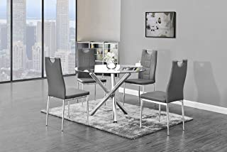 Best Master Furniture Crystal 5 Pcs Round Glass Top Dinette Set Grey