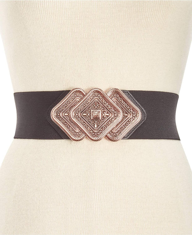 INC International Concepts I.N.C. Trio Interlock Stretch Belt in Black pink