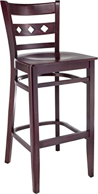 Beechwood Mountain BSD-18BW-Dm Solid Beech Wood bar Stool in Dark Mahogany with Wood Seat for Kitchen & Dining