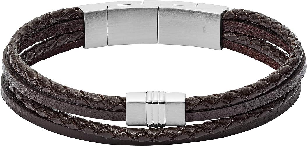2 brins Fermoir Mousqueton en Acier Inoxydable Noir tress/é 21cm Taille Standard pour Homme Bracelet en Cuir pour Homme par Tribal Steel