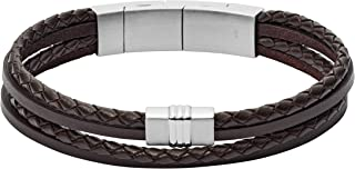 Mens Multi-Strand Leather Bracelet Stainless Steel...