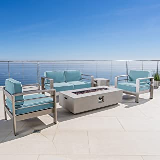 Christopher Knight Home Crested Bay 5 Piece Silver Aluminum Framed Chat Set with Light Teal and White Corded Water Resistant Cushions and Light Grey Finished Rectangular Fire Pit