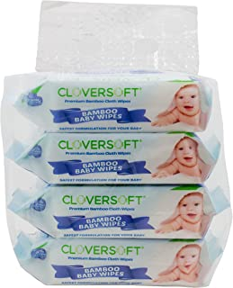 Cloversoft Organic Unbleached Bamboo Pure Water Baby Wipes, 20ct,Pack of 4