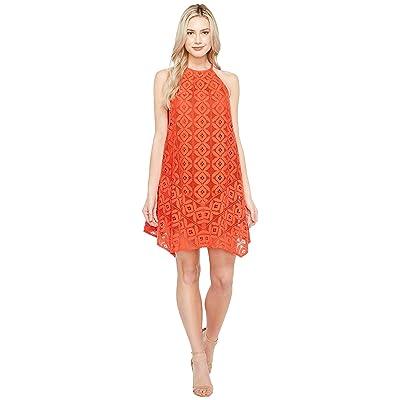 Maggy London Handkerchief Hem Swing Shift Halter Dress (Cayenne) Women