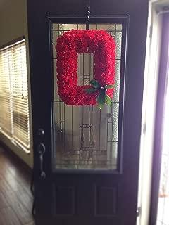 Official OSU Buckeye Wreath - Block O Ohio State Wreath made with Silk Carnations - KubuniFloral.com