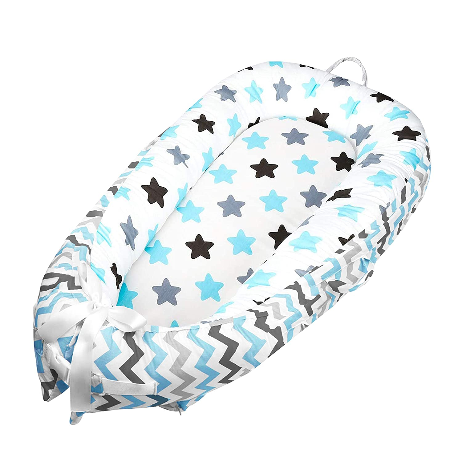 HULKY Newborn Baby Lounger Infant Sleeping Nest//Pods Breathable Cotton Portable Crib for Bedroom//Travel 0-24 Months Multifunctional Baby Nest