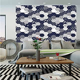 SoSung Navy Blue Decor Wall Mural,Octagon Patchwork Style Pattern Image with Dots Stars Squares Stripes,Self-Adhesive Large Wallpaper for Home Decor 83x120 inches,Navy and White