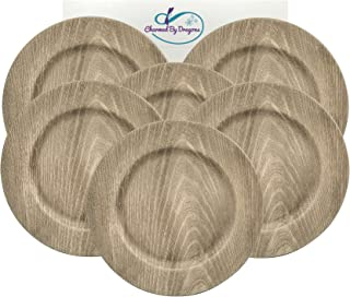 6 Farmhouse Rustic Kitchen Faux Wood Charger Plates Set of 6 In Gift Box (Grey)