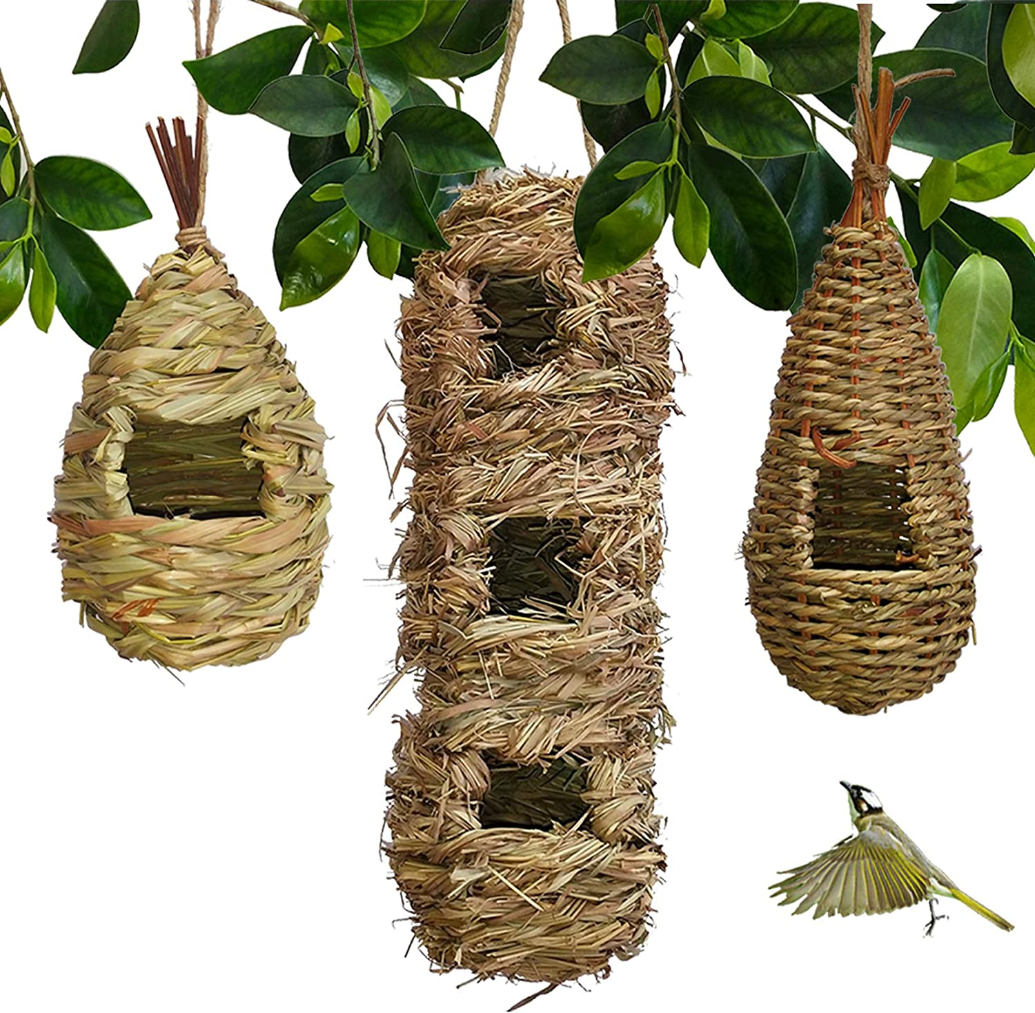 Hand-Woven Teardrop Shaped Eco-Friendly Birds Cages Nest Roostin Seattle Mall Limited price sale