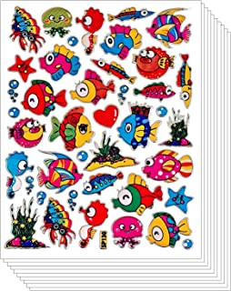 Tropical Fish Sea Ocean Stickers for Scrapbook Flashy Sparkle Shape (270 pcs, 10 sheets)