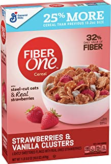 Fiber One Cereal, Strawberries and Vanilla Clusters, 16.6 oz (Pack of 6)