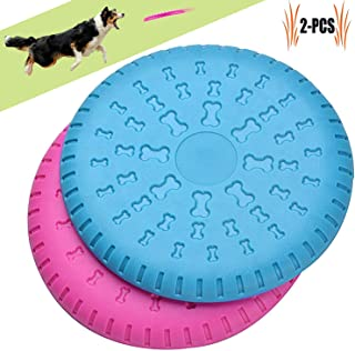 ACKYS PETSUPPLIESMISC Dog Flying Disc 2 Pcs Large Dog Flying Disc Pack - Rubber Flying disc - Pet Training Toys for Medium and Large Dogs - 9 inch (Not for Chewing,Perfect for Training)