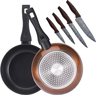 Bergner PK1926 Set 2 sartenes 20+24 cms, en Aluminio Forjado, inducción, más Juego 4 Cuchillos de Cocina, Acero Inoxidable, Marrón