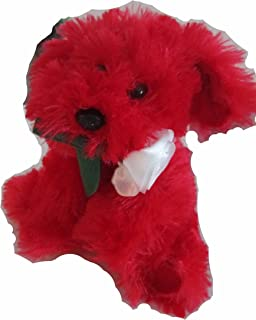 Dan Dee Red & Pink Soft & Tender Puppy with Rose