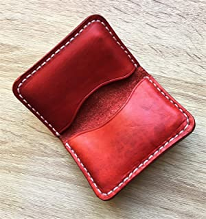 DELUXE- Portacarte di Credito in Pelle Color Rosso, pelle naturale conciata al vegetale, Regali Handmade, Artigianale, Fat...