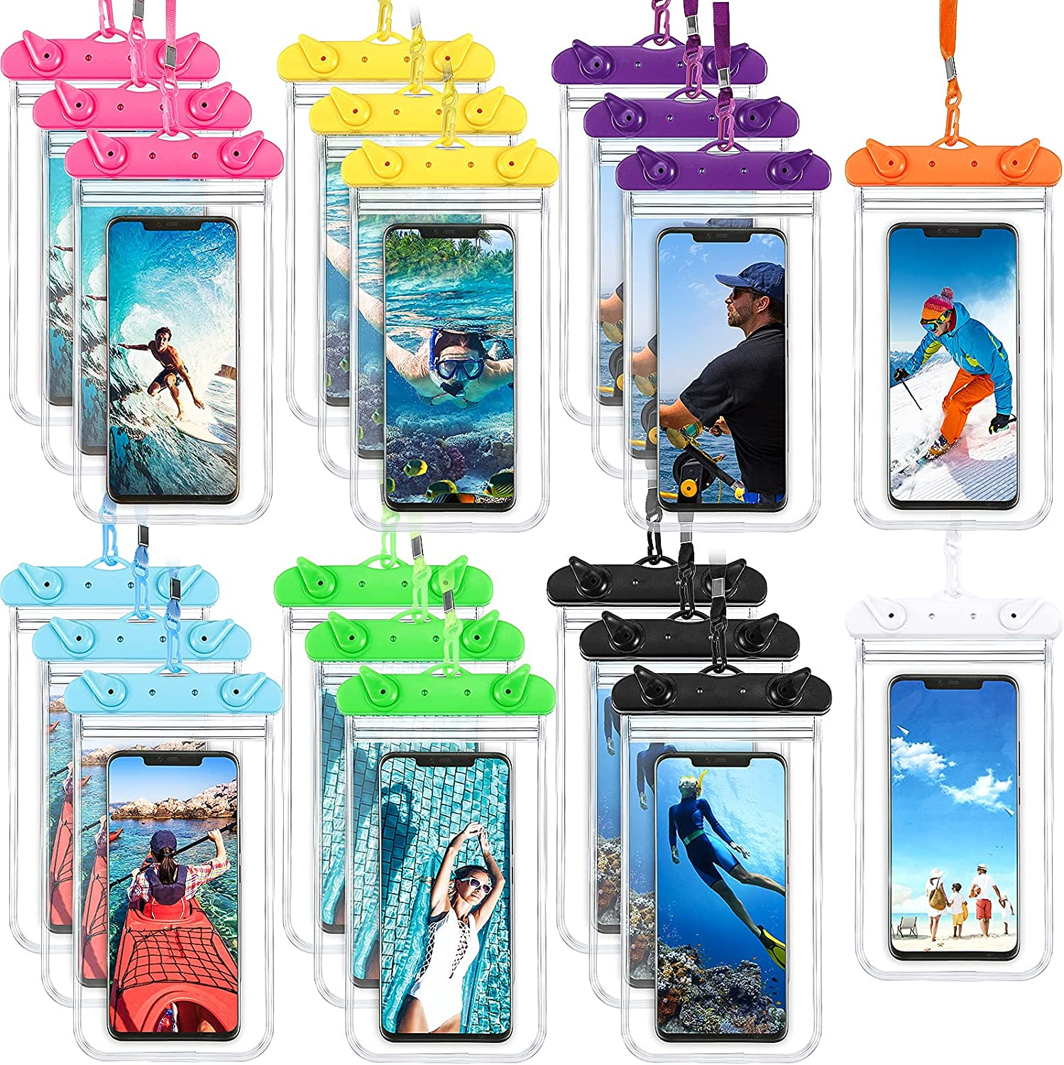 20 Pieces Waterproof Phone Pouch Bag PVC Waterproof Phone Bag with Lanyard Swimming Snorkeling Water Universal Phone Case for Smartphone 6.9 Inch
