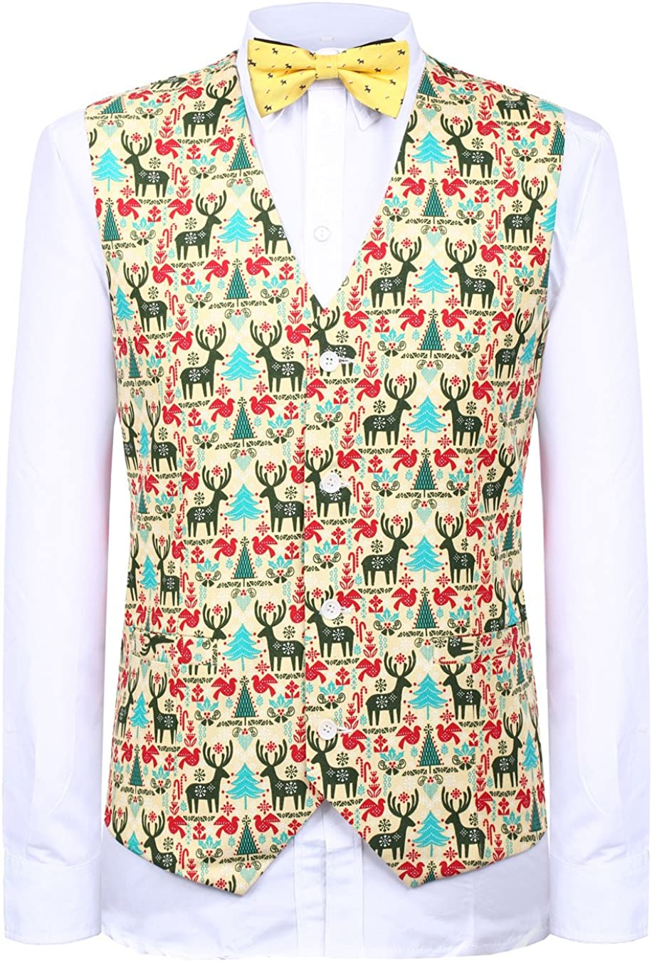 Hanayome Men's Waistcoat Garment Christmas Suits Jackets Vest Sleeveless Plus Size