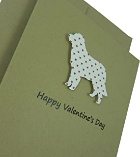 Golden Retriever Valentines Day Single Greeting Card Handmade Dog Valentine's Card Small Red Hearts
