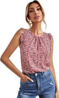 SheIn Women's Ditsy Floral Sleeveless Blouse Shirt Round Neck Frill Trim Tops