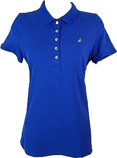 Nautica Women's Short Sleeve Stretch Solid Polo Shirt (Bright Cobalt, X-Large)