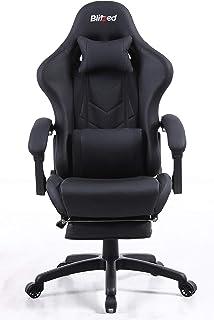 كرسي ألعاب من الجلد الصناعي بمسند ذراع ومسند قدم قابل للتعديل 6688 من بليتزد بتصميم مريح مع مسند قطني داعم (مقاس GAIA_أسود)