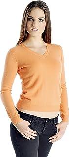 Women's 100% Pure Cashmere V-Neck Sweater (Color: Black,...
