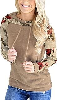 Women's Floral Printed Long Sleeve Pullover Hoodies Sweatshirt with Pocket