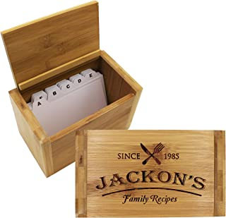 Customized Bamboo Wood Recipe Box Holder - Custom Personalized Family Recipe Boxes Gift for Kitchen, Home Decor, Wedding, Housewarming, Couples