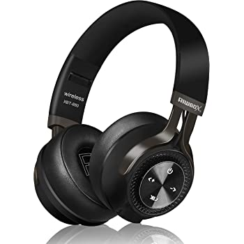 Bluetooth Headphones, Riwbox XBT-880 Wireless Bluetooth Headphones Over Ear with Microphone and Volume Control Wireless and Wired Foldable Headset for iPhone/iPad/PC/Cell Phones/TV (Black&Grey)