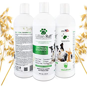 Lillian Ruff Oatmeal Dog Shampoo - Lavender Coconut Scent with Aloe - Deodorize and Soothe Dry Itchy Skin - Gentle Cleanser for Normal to Sensitive Skin