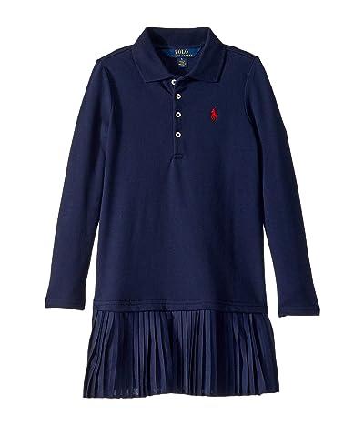 Polo Ralph Lauren Kids Pleated Knit Polo Dress (Little Kids) (French Navy) Girl