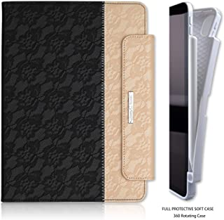 Thankscase Case for iPad Pro 11 with Pencil Holder, Soft TPU Case Leather Rotating Stand Cover [Support Pencil Charging], with Hand Strap, Wallet and Card Slots for iPad Pro 11 (Lace Black Gold)