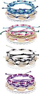 16 VSCO Bracelets for Teen Girls, VISCO Girl Friendship Bracelets, VSCO Girl Stuff, 4 String Bracelets, 4 Clear Beaded Boho Bracelets, 4 Stretchy Bracelets - Trendy Jewelry for Girls