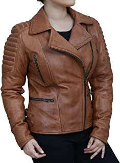 Sponsored Ad - PETERSIGN Womens Brown Distressed Biker Padded Shoulder Stylish Motorcycle Leather Jacket - Moto Racer Oute...